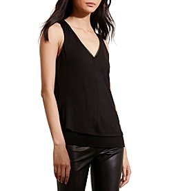 Lauren Ralph Lauren® Faux Leather Trim Jersey Top