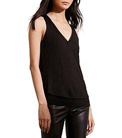 Lauren Ralph Lauren® Faux Leather Trim Jersey Top