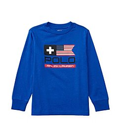 Polo Ralph Lauren® Boys' 2T-7 Long Sleeve Flag Tee