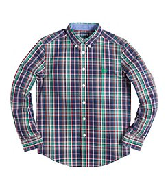 Chaps® Boys' 8-20 Long Sleeve Plaid Buttondown Shirt