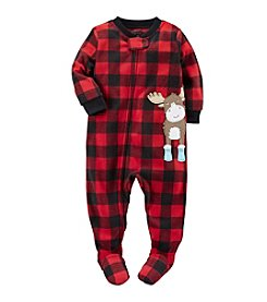 Carter's® Boys' One Piece Fleece Plaid Moose Sleeper
