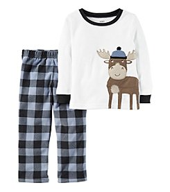 Carter's® Boys' 12M-12 Fleece 2-Piece Moose Pajama Set