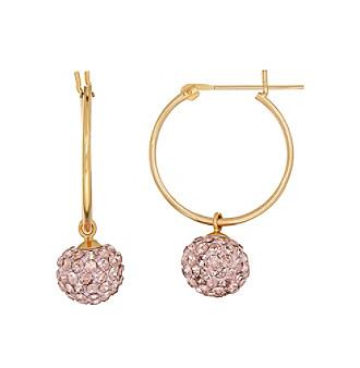 Vintage Rose Crystal Earrings In 14K Yellow Gold