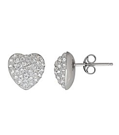 Impressions® Sterling Silver Crystal Heart Earrings