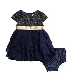 Sweet Heart Rose® Baby Girls' Metallic Lace Cascade Dress Set