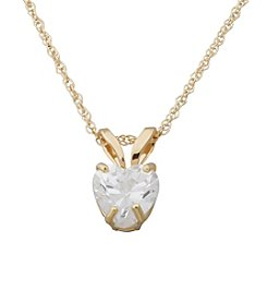 Cubic Zirconia Heart Pendant In 14K Yellow Gold