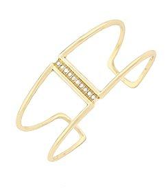 Jessica Simpson Silvertone Pave Bar Open Cuff Bracelet