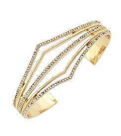 Jessica Simpson Goldtone Pave V Open Cuff Bracelet