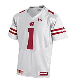 Under Armour® NCAA® Wisconsin Badgers Boys' 8-20 Premier #1 White Jersey