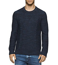 Calvin Klein Jeans® Men's Space Dye Cable Crew Neck Sweater