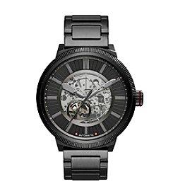 A X Armani Exchange Black Stainless Steel Textured H-Link Bracelet Watch