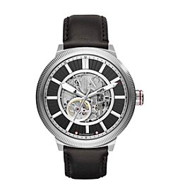 A X Armani Exchange Stainless Steel Textured Leather Strap Watch