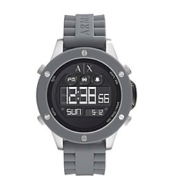 A|X Armani Exchange Stainless Steel Matte Textured Silicone Strap Watch
