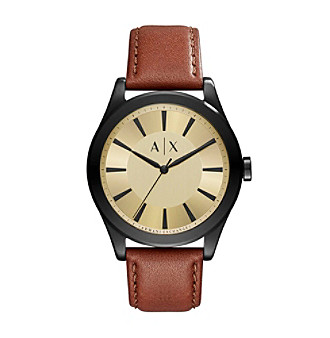 AX Armani Exchange Stainless Steel Sunray Leather Two Piece Strap Watch