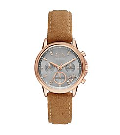 A X Armani Exchange Stainless Steel Sunray Suede Two Piece Strap Watch