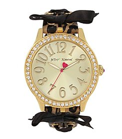 Betsey Johnson® Woven Bow Leopard Strap Watch