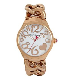 Betsey Johnson® Steel Case & Link Bracelet Watch