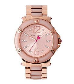 Betsey Johnson Stainless Steel Case & Bracelet  Watch With Epoxy Accents