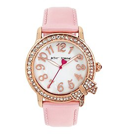 Betsey Johnson Crystal Bow Case & Patent Leather Strap Watch