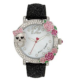 Betsey Johnson® Skull & Rose Bezel Watch