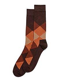 HUE® Men's Brown Blocked Socks