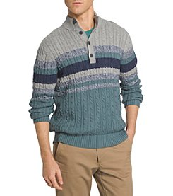 Izod® Men's Saltwater Button Mock Neck Chest Stripe Sweater