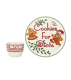 Lenox® Holiday-2pc Cookie For Santa Plate And Bowl