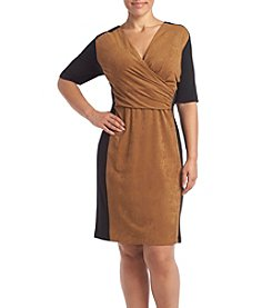 Connected® Plus Size Suede Surplice Dress