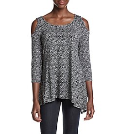 Fever™ Pebble Print Cold Shoulder Top