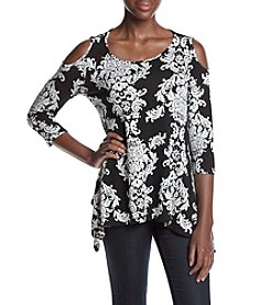 Fever™ Scroll Print Cold Shoulder Top