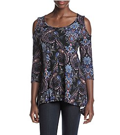 Fever™ Paisley Print Cold Shoulder Top