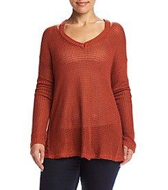 Hippie Laundry Plus Size Waffle Raw Hem Top