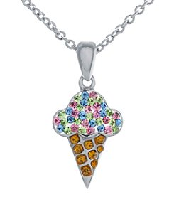 Athra Silver-Plated Ice Cream Cone Crystal Necklace