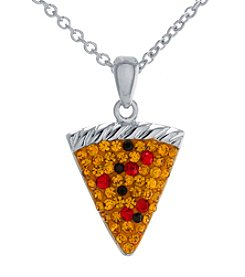 Athra Silver-Plated Pizza Crystal Necklace