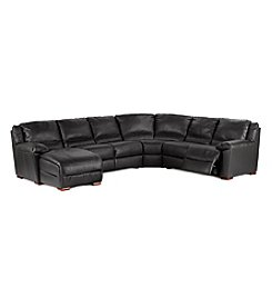 Natuzzi Editions® Genoa Black Leather 4-pc. Sectional