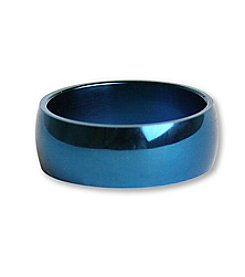 Steel Impressions Stainless Steel Blue Plate Ring