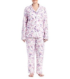 Intimate Essentials® Plus Size Printed Notch Collar Pajama Set