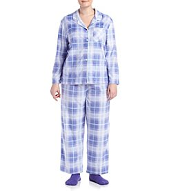 KN Karen Neuburger Plus Size Ombre Plaid Pajama And Sock Set