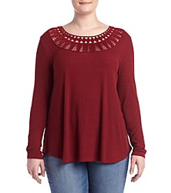Jessica Simpson Plus Size Ribbed Peasant Top