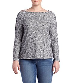 Jessica Simpson Plus Size Spacedye Cold-Shoulder Top