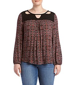 Jessica Simpson Plus Size Cutout Peasant Top
