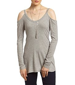 Sequin Hearts® Cold-Shoulder Knit Top