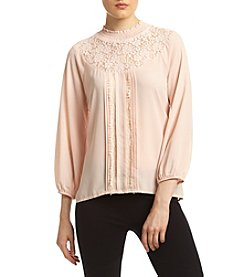 Sequin Hearts® Lace Yoke Peasant Top