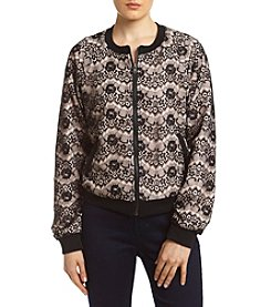 Sequin Hearts® Lace Overlay Bomber Jacket