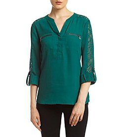 Sequin Hearts® Lace Shoulder Utility Shirt
