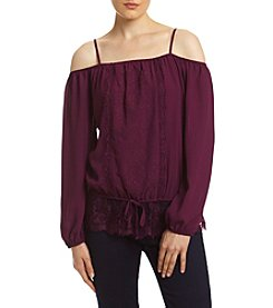 Sequin Hearts® Off-Shoulder Lace Trim Blouse