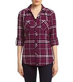 Sequin Hearts® Plaid Utility Shirt