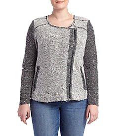 Jessica Simpson Plus Size Tweed Moto Jacket
