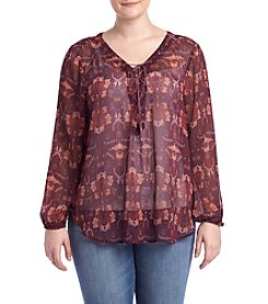 Jessica Simpson Plus Size Lace Up Peasant Top