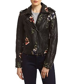 BLANKNYC® Embroidered Faux Leather Moto Jacket